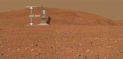 Comparaison de la hauteur de la colline Husband sur Mars et de la Statue de la Liberté.La colline Husband culmine à 82 mètres (269 pieds) tandis que la Statue de la Liberté mesure 93 mètres (305 pieds).