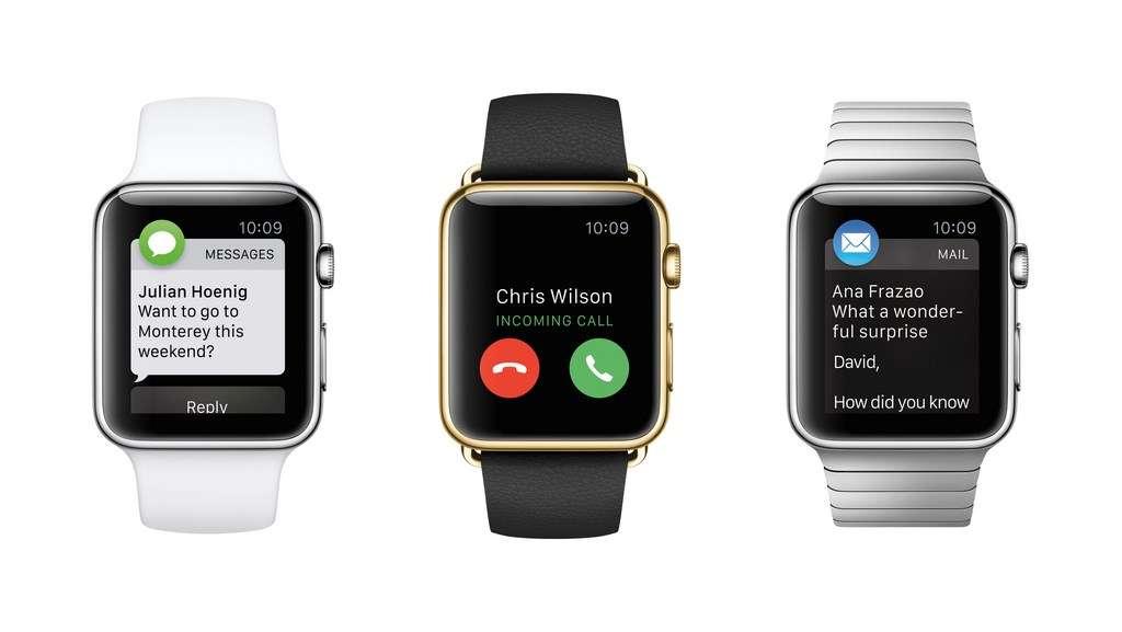 La montre connectée Apple Watch sera disponible à compter du 24 avril. Elle est déclinée en trois modèles et deux tailles de cadran (38 et 42 mm). Les prix s'étalent de 399 euros à plus de 15.000 euros pour le modèle en or 18 carats. © Apple