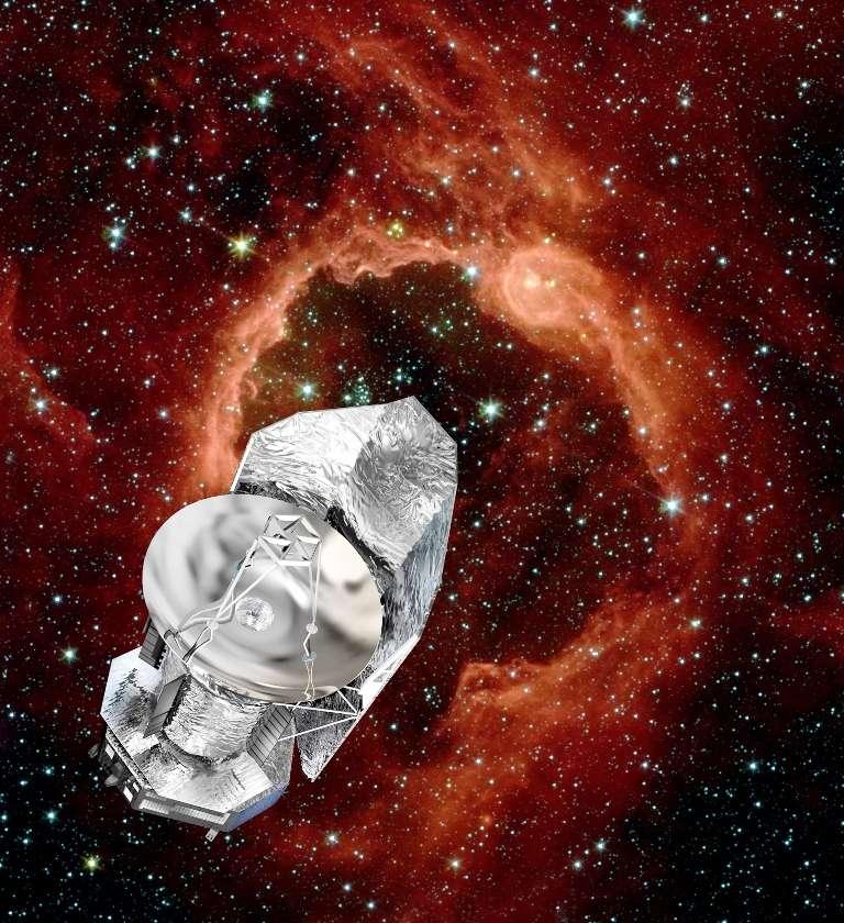 Une vue d'artiste du télescope Herschel étudiant la naissance des étoiles et des systèmes planétaires. © Esa-D. Ducros