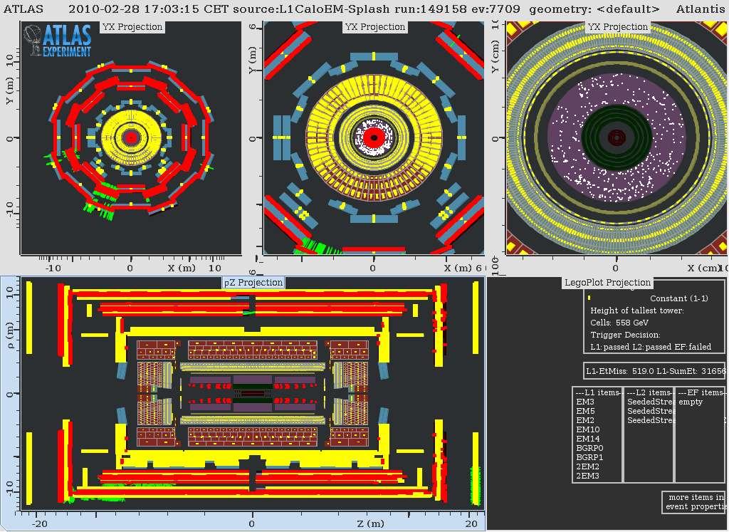 Quelques collisions se sont à nouveau produites dans le détecteur Atlas avec le retour des faisceaux de protons dans le LHC, le 28 février 2010. Crédit : Cern