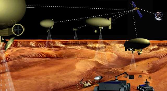 Cette image d'artiste montre ce à quoi ressemblera peut-être l'exploration de Titan dans quelques dizaines d'années. Un ensemble de ballons et de rover au sol se coordonnant avec une sonde en orbite explorera peut-être les dunes et les lacs de Titan. Crédit : Nasa-Esa