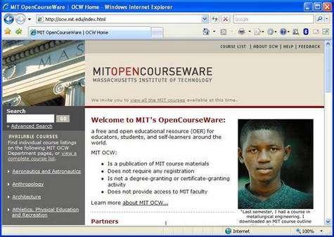 Page d'accueil du projet OpenCourseWare sur le site internet du MIT.