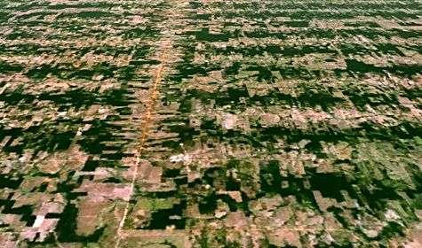Vue composite perspective de la déforestation en Amazonie. Crédit Nasa/Landsat 7