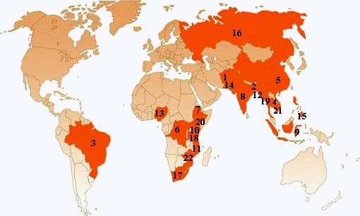 Les pays colorés en rouge cumulent 80% des cas de tuberculose connus dans le monde. © Stop TB Partnership