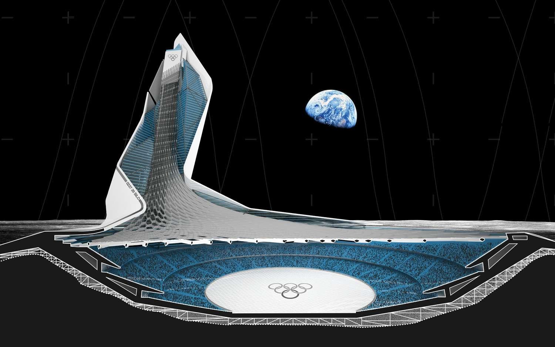 Le Silo, stade lunaire, est installé dans un cratère. © Brian Harms et Keith Bradley