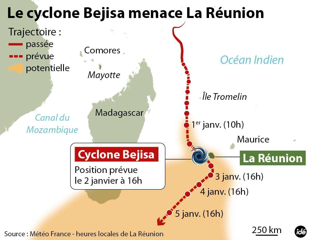 Le cyclone Bejisa devrait frôler les côtes réunionnaises aujourd'hui vers 16 h 00 (13 h 00 en France métropolitaine). Il est actuellement classé en catégorie 3 sur l'échelle de Saffir-Simpson, son intensité et sa trajectoire ont conduit la Réunion à déclarer l'état d'alerte cyclonique rouge. © Idé