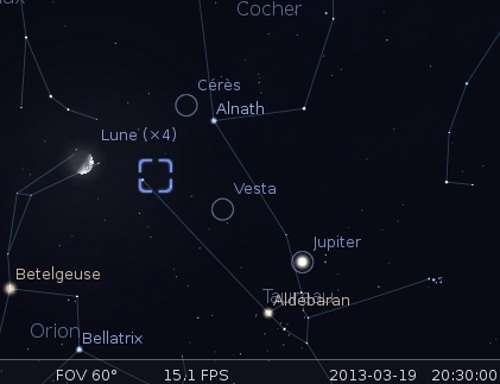 La Lune en rapprochement avec Cérès, Alnath et la nébuleuse du Crabe