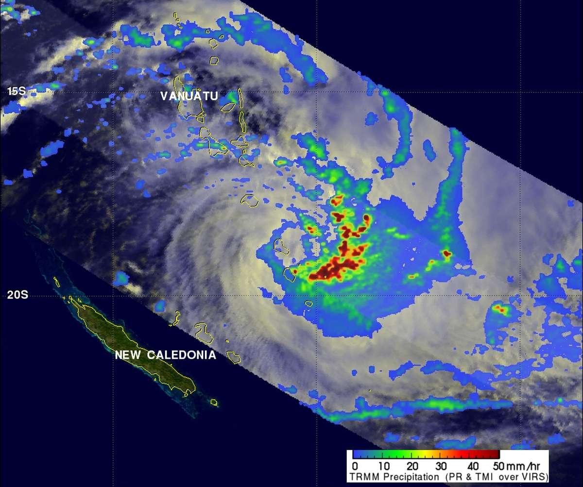 Le cyclone Vania vu par le satellite TRMM le 12 janvier à 4 h 35 TU. © Nasa/JPL, Ed Olsen
