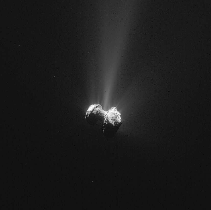 Le noyau de Tchouri photographié avec la NavCam de Rosetta, le 21 septembre 2015 à 330 km du centre de la comète. La récente étude sur le cycle de l'eau a été réalisée à partir des observations, accomplies un an plus tôt, de la région Hapi, sur le cou de la comète. Sur cette image prise un mois et une semaine après le périhélie, on peut observer de nombreux jets émis depuis cette région qui relie les deux lobes caractéristiques de cet astre escorté depuis plus d'un an par la sonde Rosetta. © Esa, Rosetta, NavCam – CC BY-SA IGO 3.0