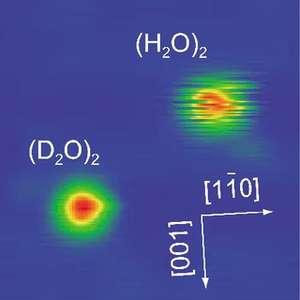 Les images des deux dimères au microscope à effet tunnel. Crédit : Kumagai et al.