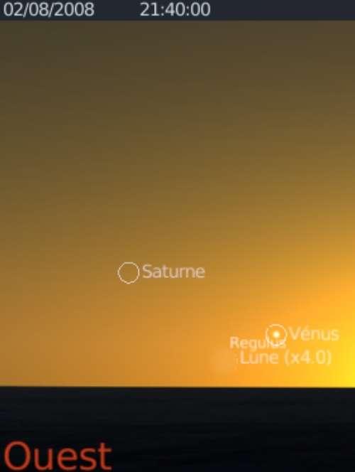 Le très fin croissant lunaire est en rapprochement avec la planète Vénus