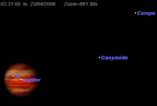 Le satellite Io passe devant la planète Jupiter