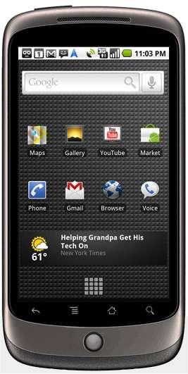 119 mm de haut, 59,8 mm de large, 11,5 mm d'épaisseur, pour 130 grammes : c'est le Nexus One, de Google, fonctionnant sous Android. © Google