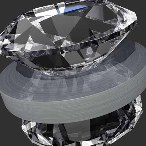 Une vue d'artiste de l'enclume en diamant utilisée pour obtenir l'aérogel. © Kwei-Yu Chu/LLNL