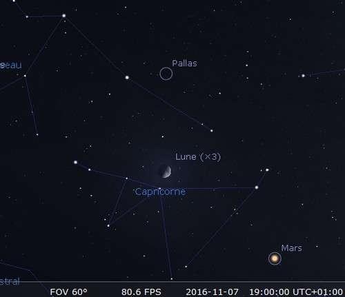 La Lune en rapprochement avec Pallas