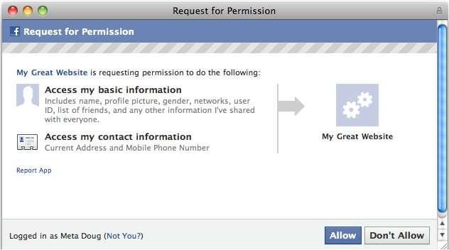 La commande (ici en anglais) par laquelle l'utilisateur devrait donner son autorisation pour que ses coordonnées personnelles soit accessibles (sur demande).