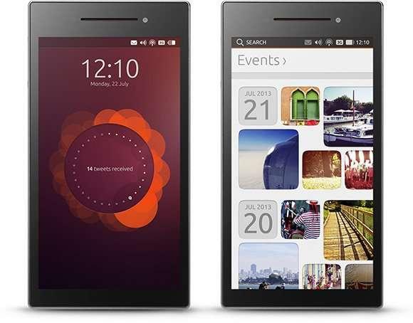 L'Ubuntu Edge est un smartphone d'un nouveau genre qui peut à la fois disposer d'Android ou d'Ubuntu pour mobile en tant qu'OS et se transformer en un véritable PC de bureau, une fois posé sur un dock qui le relie à un écran, un clavier et une souris. L'interface classique d'Ubuntu apparaît alors avec ses applications habituelles. C'est, entre autres, ce qui explique pourquoi une configuration matérielle musclée est nécessaire pour ce smartphone particulier. © Canonical