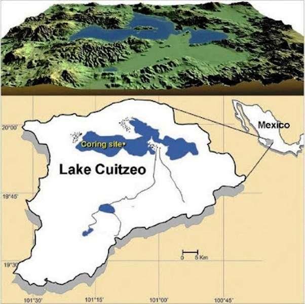 Localisation du lac Cuitzeo au Mexique, où ont été trouvés les nanodiamants. © Israde-Alcántara et al. (2012)