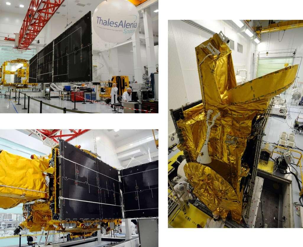 Le satellite Rascom-QAF1R en cours d'intégration dans les l'usine cannoise de Thales Alenia Space. Crédit Thales Alenia Space