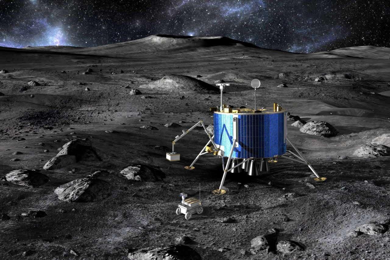 Astrium va plancher sur un véhicule d'atterrissage et un rover lunaire. L'étude pourrait déboucher sur une mission bien réelle. Crédit Astrium / 2010