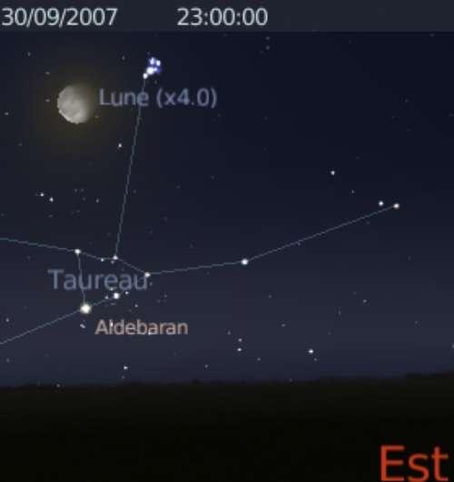 La Lune est en conjonction avec l'amas des Pléiades (M45)