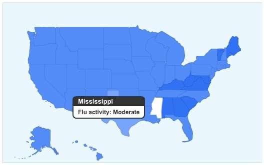Carte épidémiologique de la grippe aux Etats-Unis au 12 novembre 2008, selon le service Google Flu Trends, qui donne ici trois niveaux, du bleu clair ou bleu foncé (minimal, faible, modéré). © Google.org