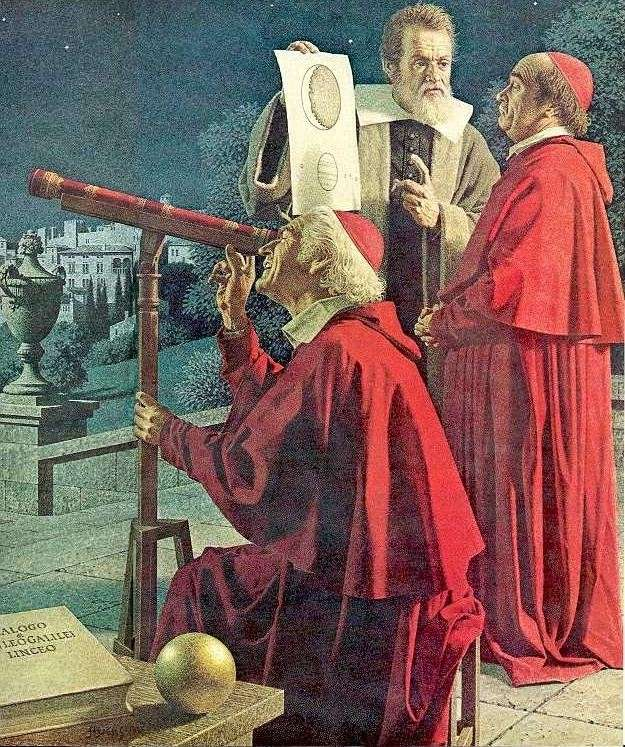 En organisant des observations (ici avec deux cardinaux) Galilée espérait faire accepter son modèle d'Univers héliocentrique en accord avec ses découvertes astronomiques. Peinture de Jean-Léon Huens.