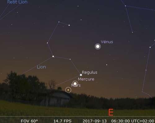 Mars, Mercure, Régulus et Vénus sont alignés dans le ciel de l'aube
