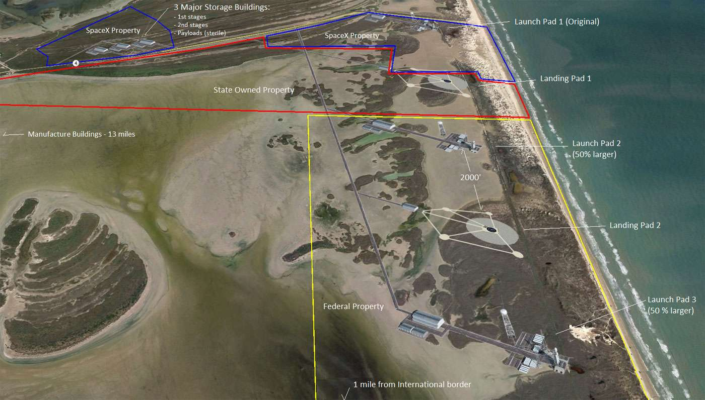 Le futur complexe de lancements de SpaceX se situe à Boca Chica, au Texas, près de Brownsville. Il disposera d'un pas de tir et d'une aire d'atterrissage pour le retour des étages réutilisables et la place nécessaire pour en construire d'autres si nécessaire. © JDeshetler