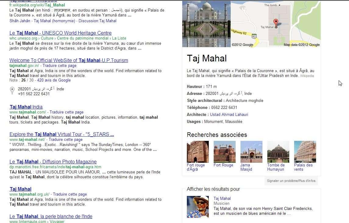 Il arrive parfois qu'une requête Google renvoie vers plusieurs réponses possibles. Ici, l'expression « Taj Mahal » peut faire référence au célèbre monument indien ou bien au bluesman américain. Le Knowledge Graph permet à l'internaute de préciser sa demande. © Google