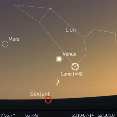 La Lune est en rapprochement avec la planète Vénus et l'étoile Régulus