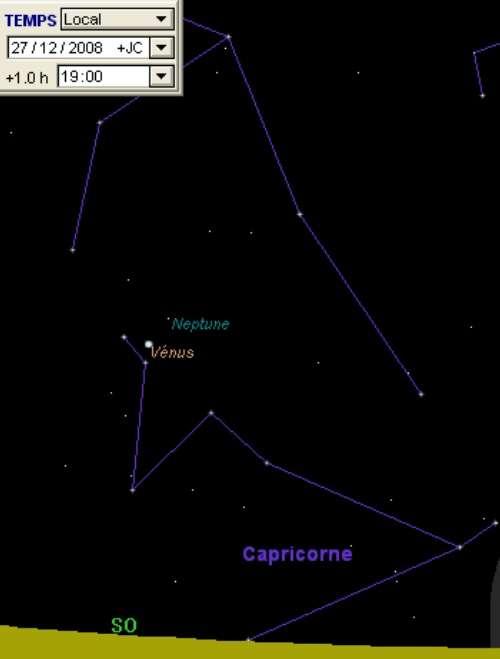 La planète Vénus est en rapprochement avec la planète Neptune