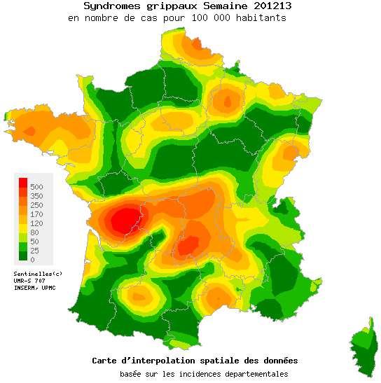 La carte de France de la grippe a fini de rougir. Le vert recommence à s'imposer sur le pays, même si la région Poitou-Charentes se démarque encore un peu. © Réseau Sentinelles