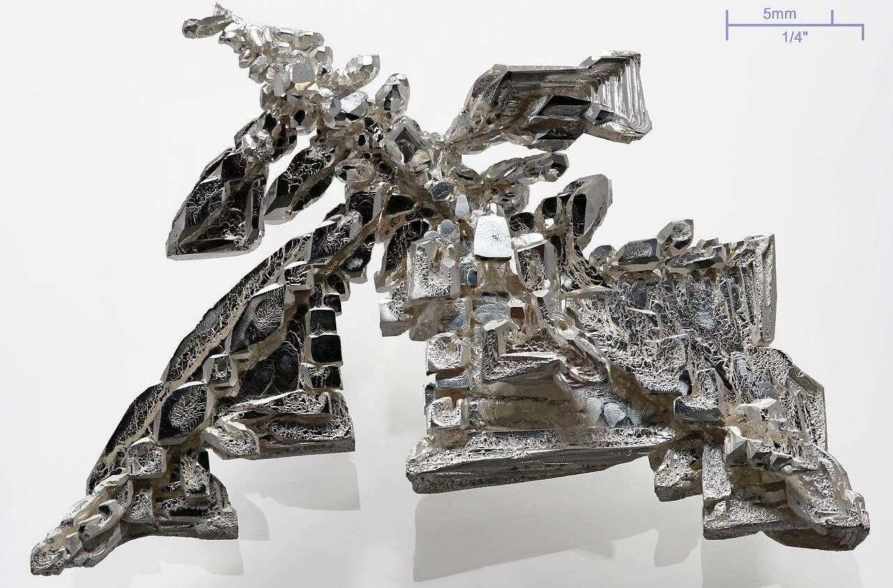 Un cristal artificiel d'argent pur à plus de 99,95 % obtenu par électrolyse, et présentant une structure dendritique. Cette image a été obtenue en combinant 11 photos du cristal réalisées avec des distances de mise au point différentes. Sa masse est de 11 g environ. On a confirmé l'existence d'excitons dans ce métal lorsqu'il réfléchit la lumière. © Alchemist-hp, Wikipédia, cc by 3.0