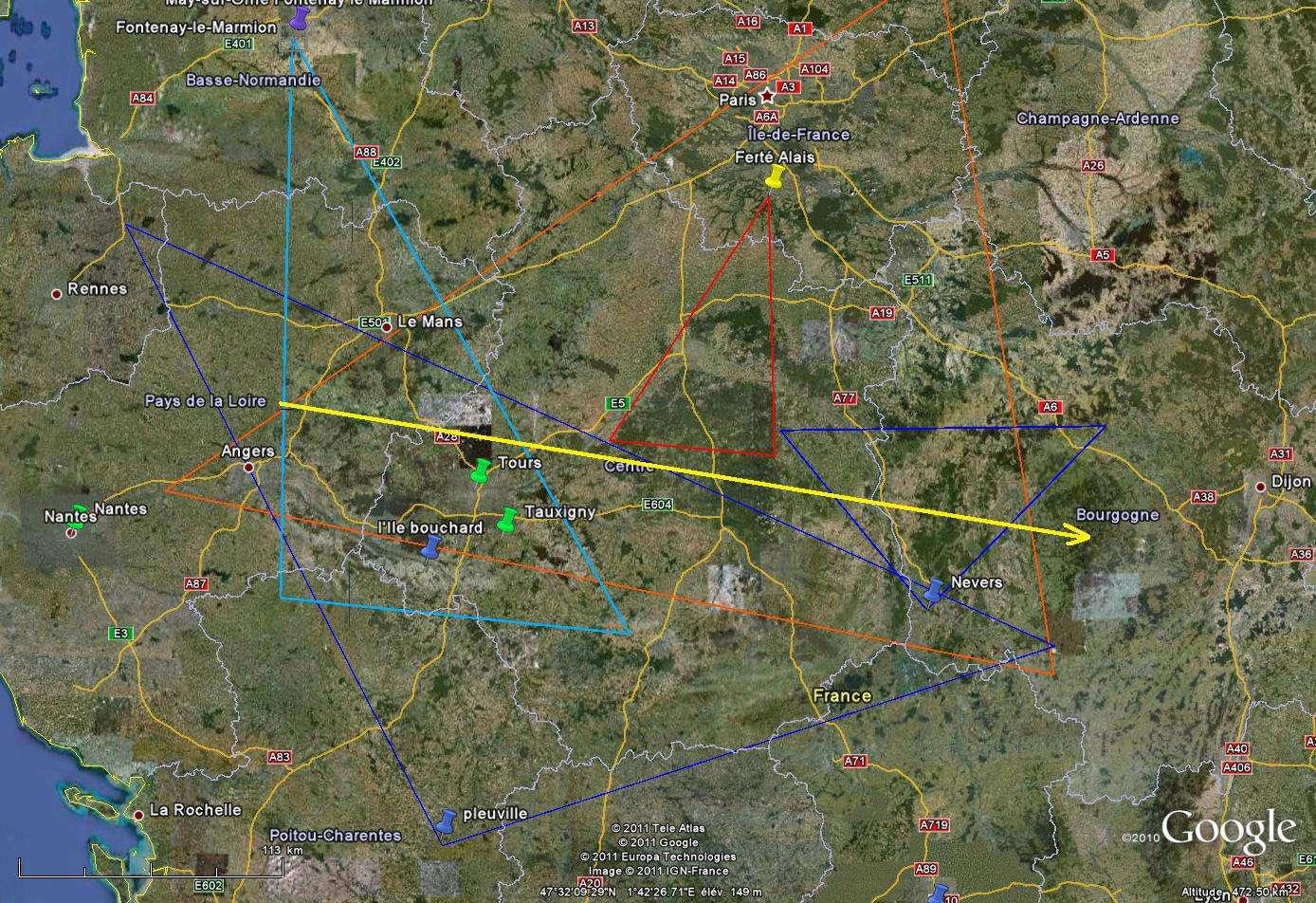 Carte de la trajectoire du bolide du 21 octobre. © Laurent/Météorites.superforum.fr