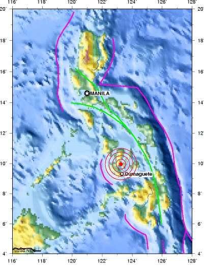 La carte fournie par l'USGS montre l'épicentre du séisme qui s'est produit le 6 février 2012 au sud de l'archipel des Philippines, entre les îles Negros et Cebu. © USGS