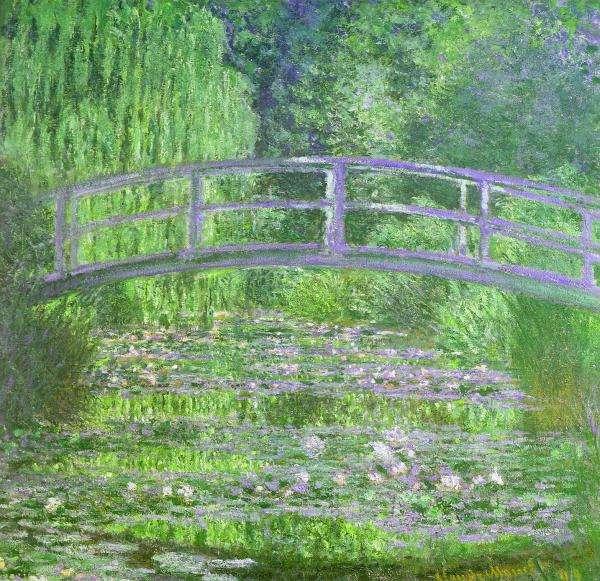 La cataracte affecte la vision, réduisant la résolution mais aussi la sensation des couleurs. Ce « pont japonais », représenté à plusieurs reprises par Claude Monet dans sa série du Bassin aux nymphéas, témoigne de ce que le peintre était atteint par cette maladie du cristallin. © Musée d'Orsay