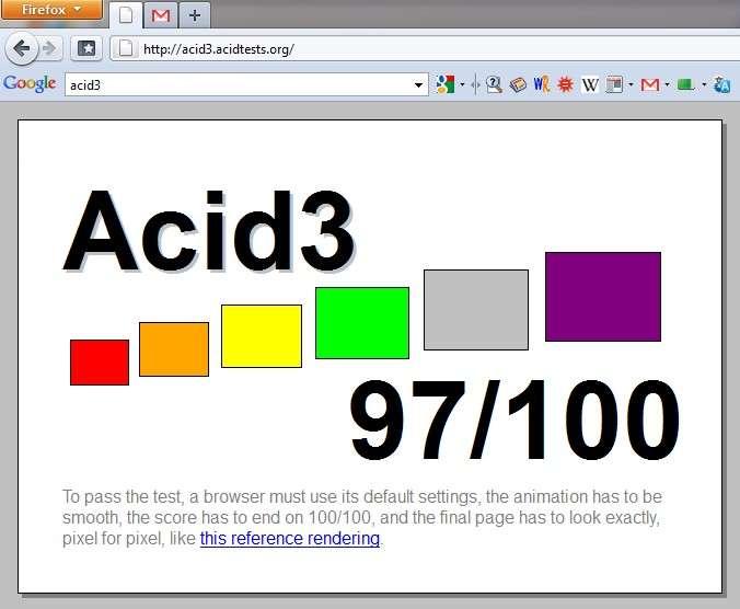 Le navigateur obtient un score de 97/100 au test Acid3 contre 94 pour la version 3.6. Certains navigateurs comme Chrome et Safari réalisent déjà un sans faute à ce test qui ne couvre toutefois pas tous les standards du Web. © Mozilla