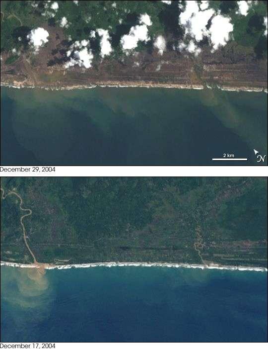 Dégâts du tsunami dans la province d'Aceh, à Sumatra. Ces photographies réalisées depuis le satellite Landsat montrent les côtes ravagées sur plusieurs kilomètres à l'intérieur des terres. © Nasa