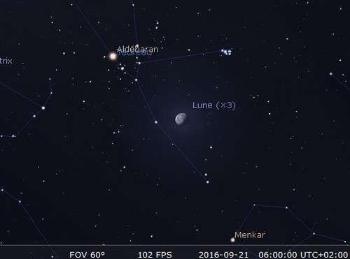 La Lune en rapprochement avec les Pléiades. © Futura