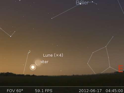 La Lune en rapprochement avec Jupiter et les Pléiades