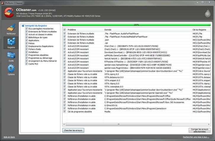 Ccleaner permet de nettoyer Windows des fichiers temporaires et clés de registre. La suppression des clés de registre erronnées évite au système de perdre du temps à chercher la bonne clé dans une base lourde. Pendant la suppression, sauvegarder est une précaution essentielle. © Guénaël Pépin