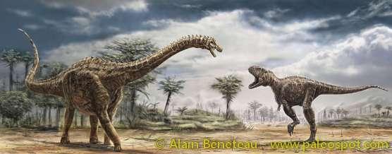 Reconstitution d'une rencontre entre les deux gros dinosaures français de la fin du Crétacé : l'Ampelosaurus et le Tarascosaurus. © Alain Bénéteau