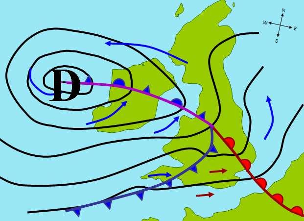 Sur cette carte, les lignes noires sont des lignes isobares. Elles permettent d'identifier clairement le centre de la dépression formée au-dessus des îles britanniques. © Pierre cb, GNU 1.2