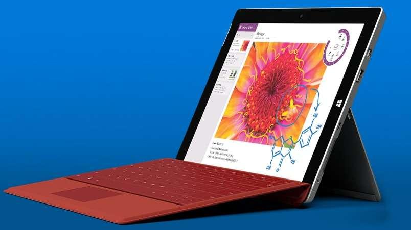 Équipée d'un écran 10,8 pouces, la tablette Surface 3 de Microsoft est une alternative plus abordable à sa grande sœur, la Surface Pro 3. © Microsoft
