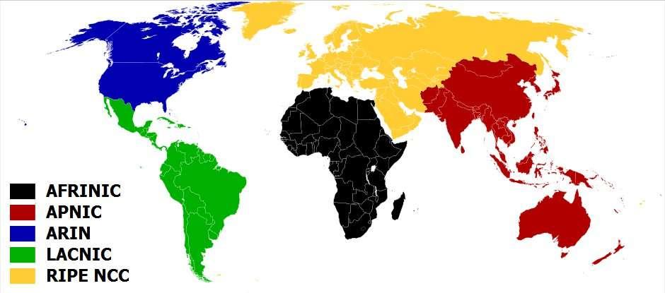 Carte de la répartition géographique des RIR. © CC by-sa 3.0