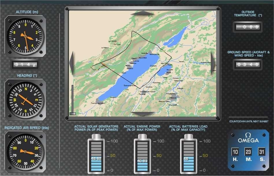 Trajet suivi par l'avion solaire électrique HB-SIA depuis son décollage de l'aérodrome de Payerne. L'appareil a contourné par le nord le lac de Neuchâtel puis s'est dirigé vers le Jura. C'est là, profitant des conditions aérologiques, qu'il effectue son long vol, qui sera poursuivi, si tout va bien, jusqu'à demain matin. © Solar Impulse