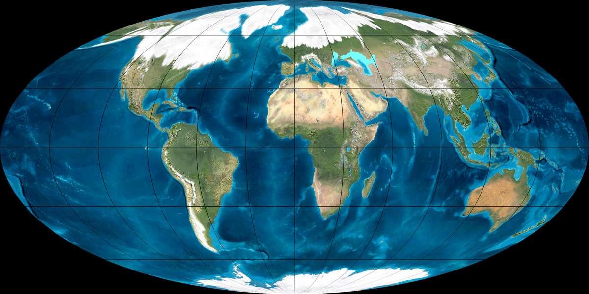 La glace recouvrait une grande partie de l'Europe et de l'Amérique du Nord durant la dernière glaciation. Le niveau des mers a diminué de 120 mètres par endroits, modifiant ainsi le contour des côtes. © Northern Arizona University, DR