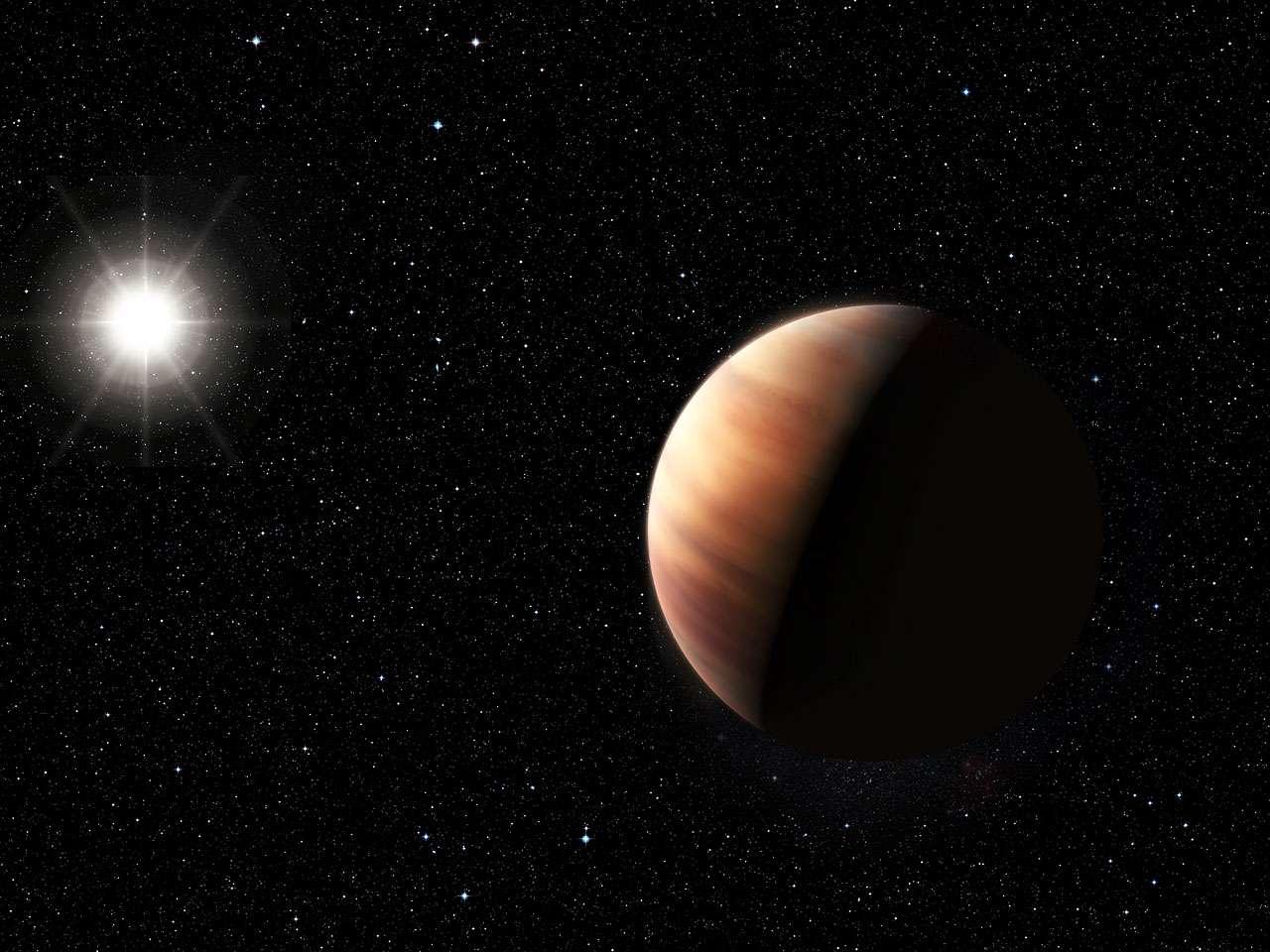 Cette illustration montre une géante gazeuse jumelle de Jupiter récemment découverte autour d'un jumeau solaire, HIP 11915. La planète est dotée d'une masse semblable à celle de Jupiter et orbite autour de son étoile-hôte à une distance voisine de celle qui sépare Jupiter du Soleil. Par ailleurs, la composition de HIP 11915 est semblable à celle de notre étoile. Tous ces éléments mis ensemble laissent entrevoir la possibilité que ce système planétaire présente quelques similitudes avec notre Système solaire, comme de petites planètes rocheuses dans les régions intérieures. © Eso, L. Benassi