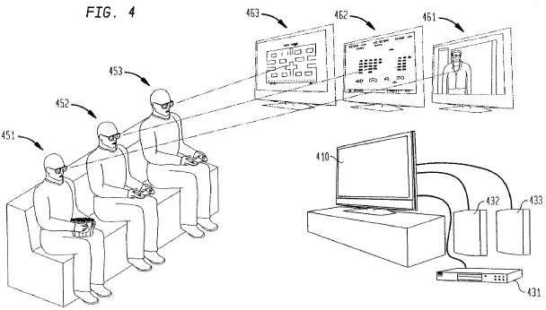 Schéma du procédé imaginé par Sony pour afficher plusieurs contenus sur un même écran. Crédits Sony.